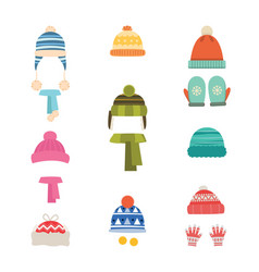 Hats winter warm hats with scarf and with gloves vector