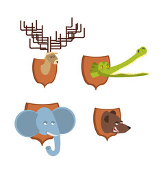 head animal hunter trophy set elephant and bear vector image