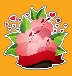 hibiscus sticker lush red flowers and hearts vector image