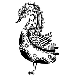 ink drawing tribal ornamental bird ethnic vector image
