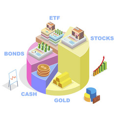 Isometric pie chart showing financial investment vector