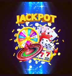 Jackpot casino big win collage banner vector