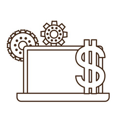 laptop computer screen with dollar symbol vector image