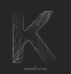 Letter k of branch or cracked alphabet k vector