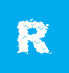 letter r cloud font symbol white alphabet sign on vector image
