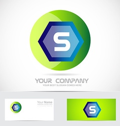 Letter S green ball sphere logo vector image