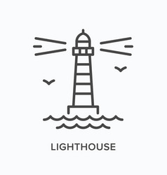 lighthouse flat line icon outline vector image