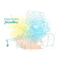 lord krishna happy vector image
