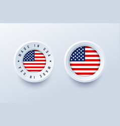 made in usa label sign button badge with united vector image
