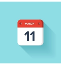March 11 Isometric Calendar Icon With Shadow vector image