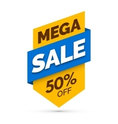 Mega sale banner yellow and blue colors vector
