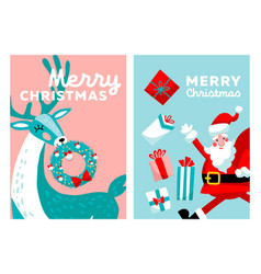 merry christmas greeting card set cartoon hand vector image