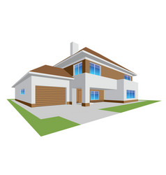 New realistic family cottage 3d house icon vector
