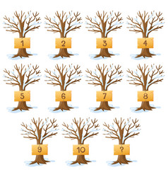 Numbers one to ten on trees vector
