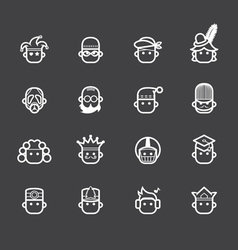 Occupation white icon set 2 on black background vector