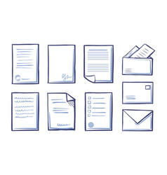 office documents and papers monochrome set vector image