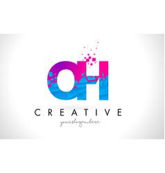 Oh o h letter logo with shattered broken blue vector