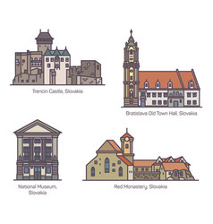 Old architecture buildings slovakia in line vector