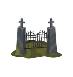 old iron entrance gate on stone pillars with vector image