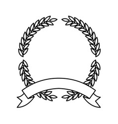 Olive branches in monochrome forming a circle with vector