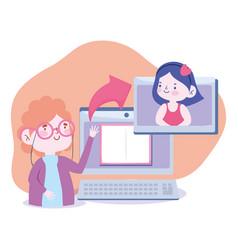 Online education teacher explain class student vector