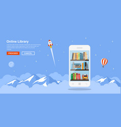 online library concept vector image