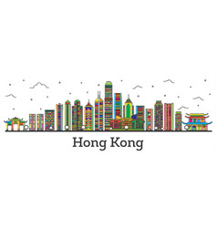Outline hong kong china city skyline with color vector