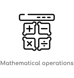 Outline mathematical operations icon isolated vector