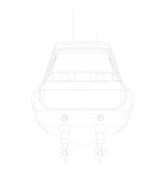 outline sports boat back view vector image