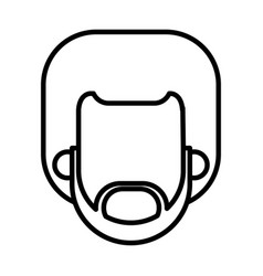 Outlined bearded character man male vector