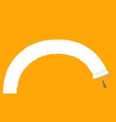 paint roller white on orange wall background and vector image