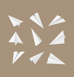 Paper planes 3d origami aircraft flying vector