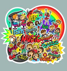 Pattern children music vector