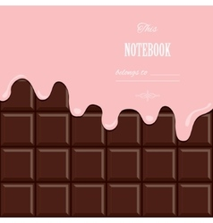 Pink cream melted on chocolate bar background vector
