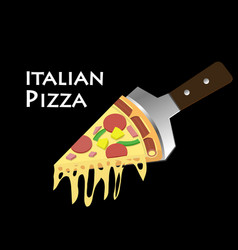 Pizza on spatula in black background art vector