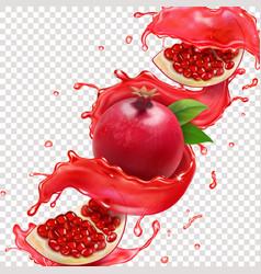 pomegranate red juice splash realistic vector image