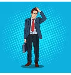 Pop art doubtfull businessman with briefcase vector