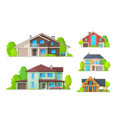 private houses residential real estate buildings vector image