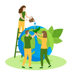 Protect nature ecology happy earth day flat vector