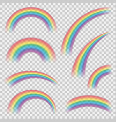 Realistic colourful rainbows shapes or objects set vector