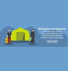 Refugees immigrants banner horizontal concept vector