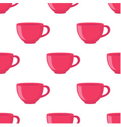 Seamless pattern of tea cup in cartoon flat style vector