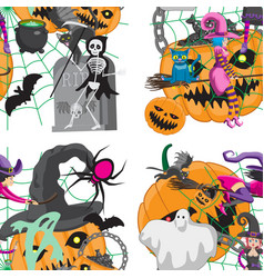 Seamless pattern with cute halloween creatures vector