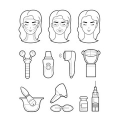 Services cosmetology set icons lines vector