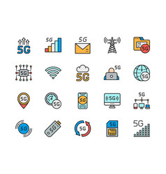 Set 5g internet color line icons network vector