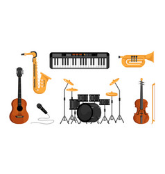 set music instruments piano drum guitar mic vector image