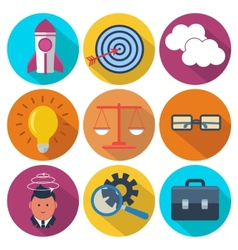 Set of 9 business marketing colorful round icons vector image