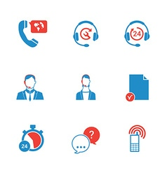 Set of call center and support service icons vector image