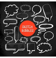 Set of hand drawn sketch doodle bubble frames vector image