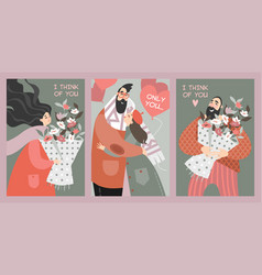set valentines day cards in cartoon style vector image